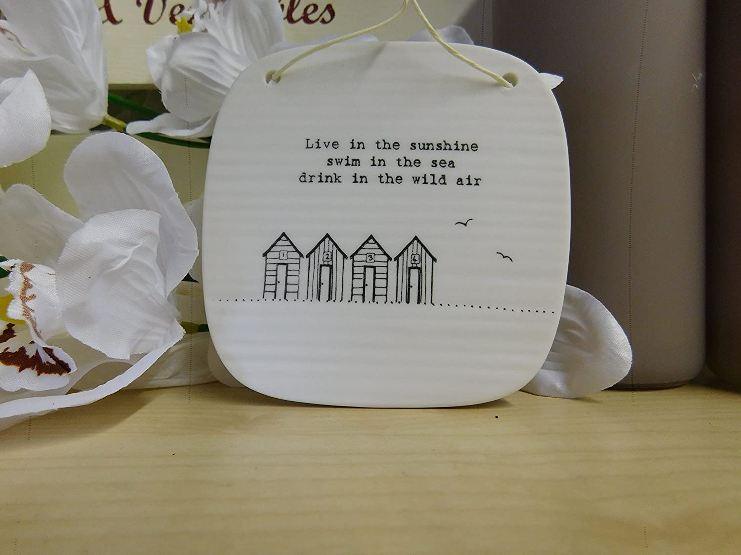 'Life is meant for good friends and great adventures' Square Porcelain Hanging Picture Plaque by East of India 9.5cm x 9.5xm