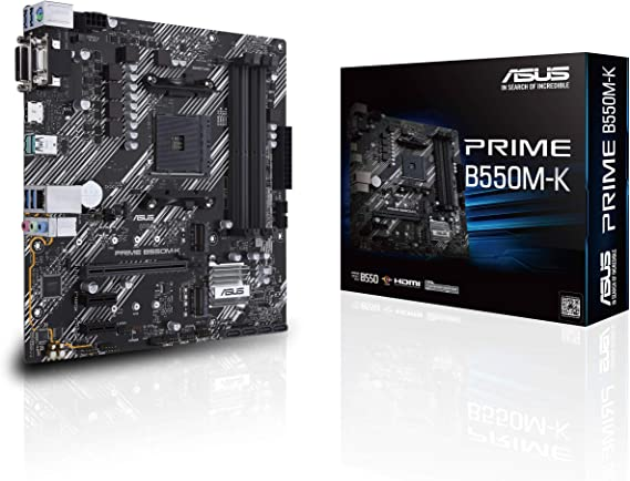 ASUS Prime B550M-K AMD B550 (Ryzen AM4), dual M.2, PCIe 4.0, DDR4 4400, 1 Gb Ethernet, HDMI/D-Sub/DVI, USB 3.2 Gen 2 Type-A, micro ATX: Amazon.co.uk: Computers & Accessories