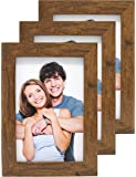 Clay Roberts Photo Frames, 6 x 4, Pack of 3, Standard Photograph Size, Brown, Freestanding and Wall Mountable, 6x4 Picture Frames