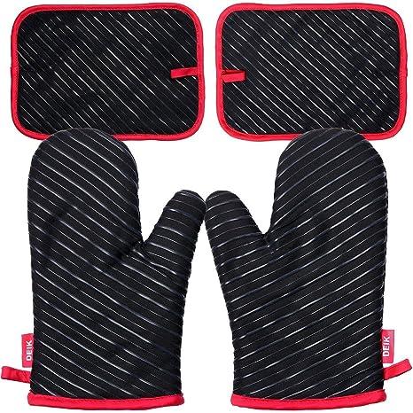 deik Ofenhandschuhe und Topflappen, Hitzebeständige Handschuhe bis zu 240?, Silikon Anti-Rutsch Grillhandschuhe, Geeignet für