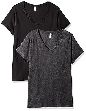 9fed7e926606b Clementine Apparel Women s Ladies Curvy Plus Size V-Neck T-Shirt (2 Pack