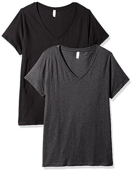 7d8e4d87e198 Clementine Apparel 2 Pack Women's Plus Size Curvy Short Sleeve T Shirt Easy  Tag V Neck Soft Cotton Undershirts (3807)