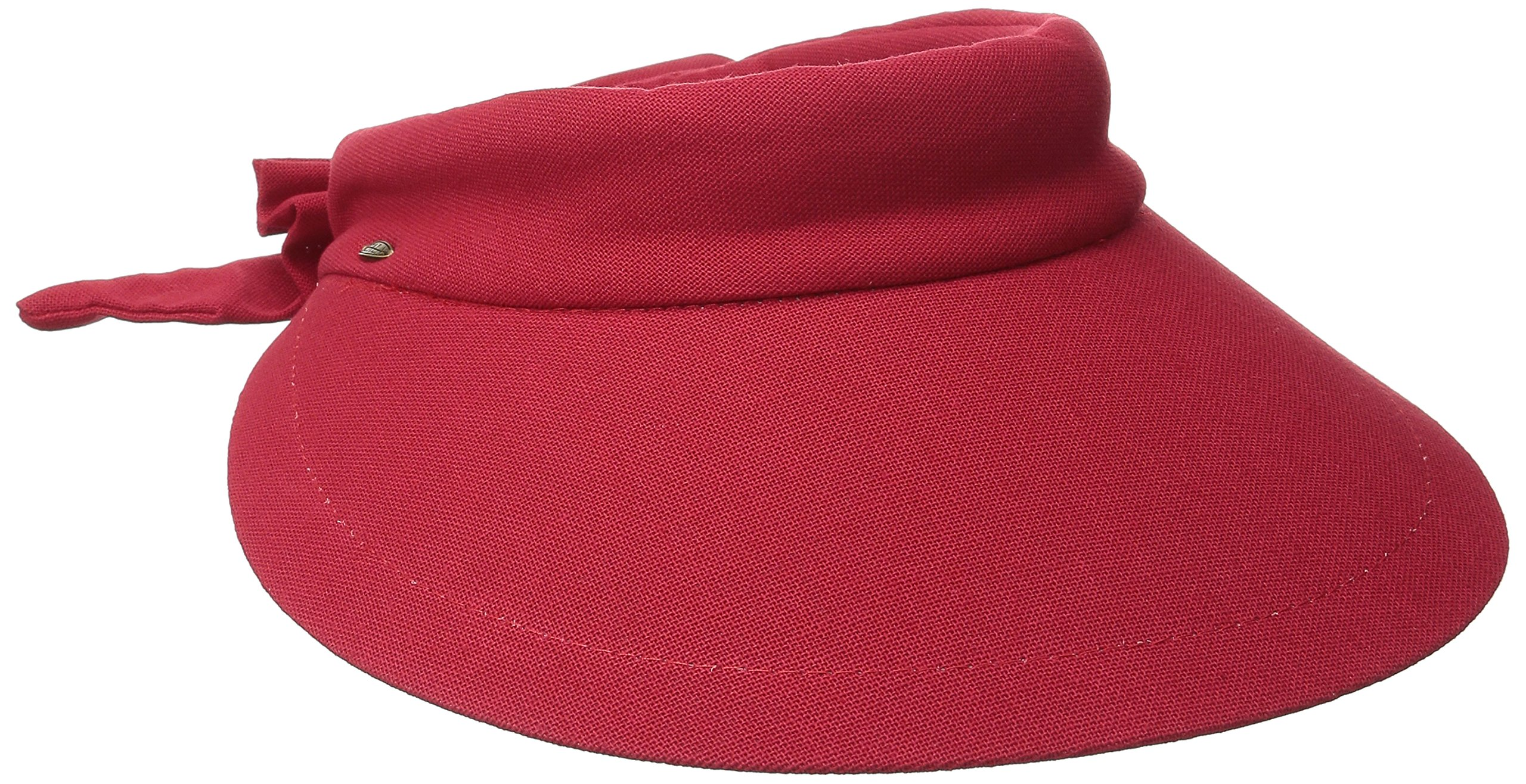 Scala Women's Deluxe Big Brim Cotton Visor with Bow, Red, One Size