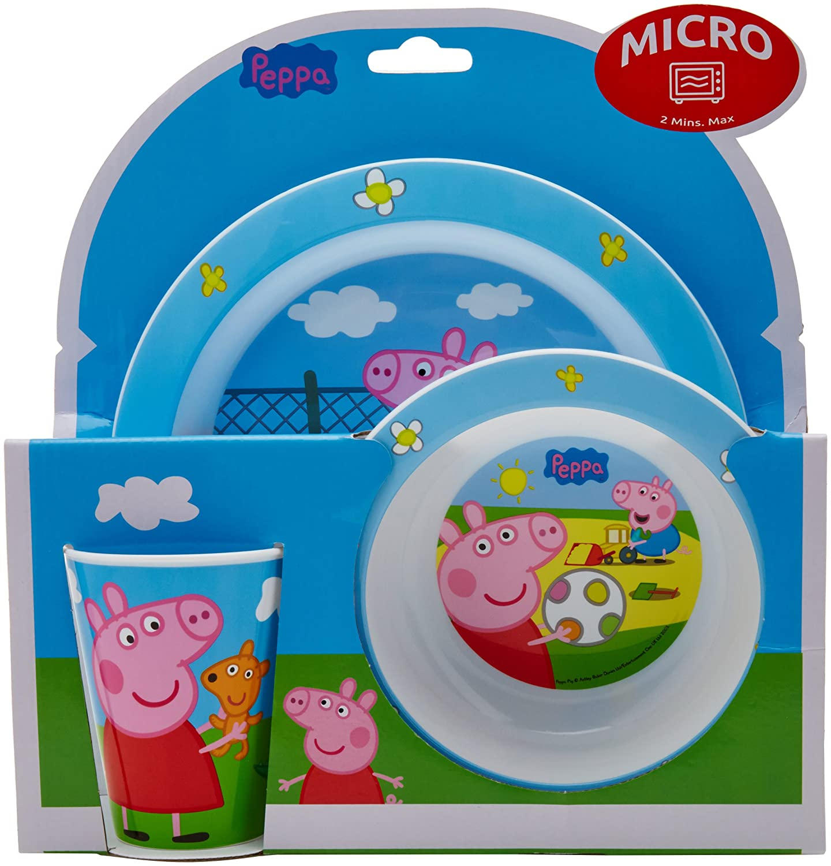 PEPPA PIG PLATO, CUENCO Y VASO 260 ML. SET MICRO KIDS 3 PIEZAS