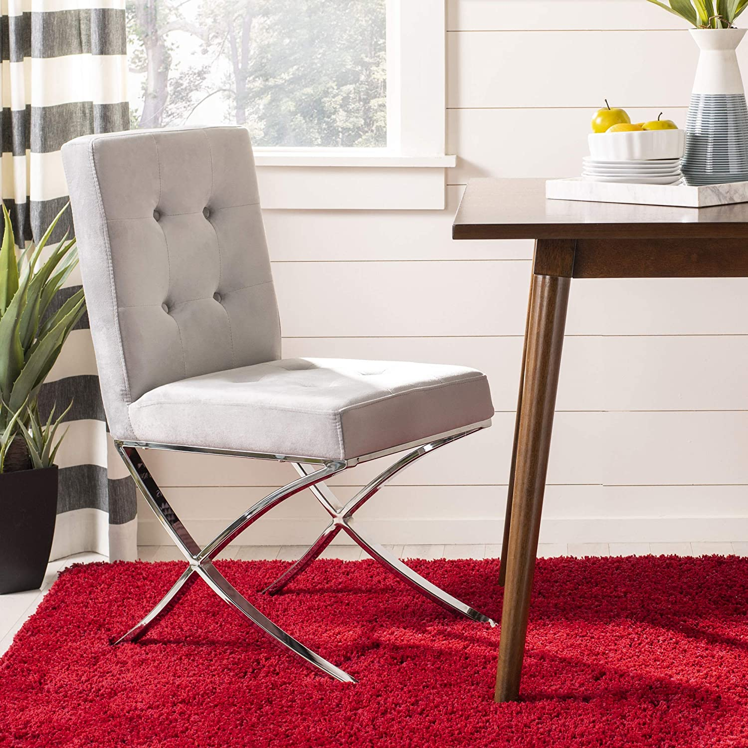 Safavieh Home Walsh White Faux Leather and Chrome Tufted Side Chair