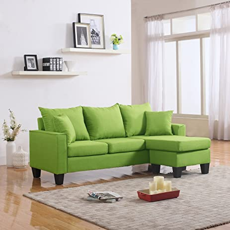 Modern Linen Fabric Small Space Sectional Sofa With Reversible Chaise  (Green)