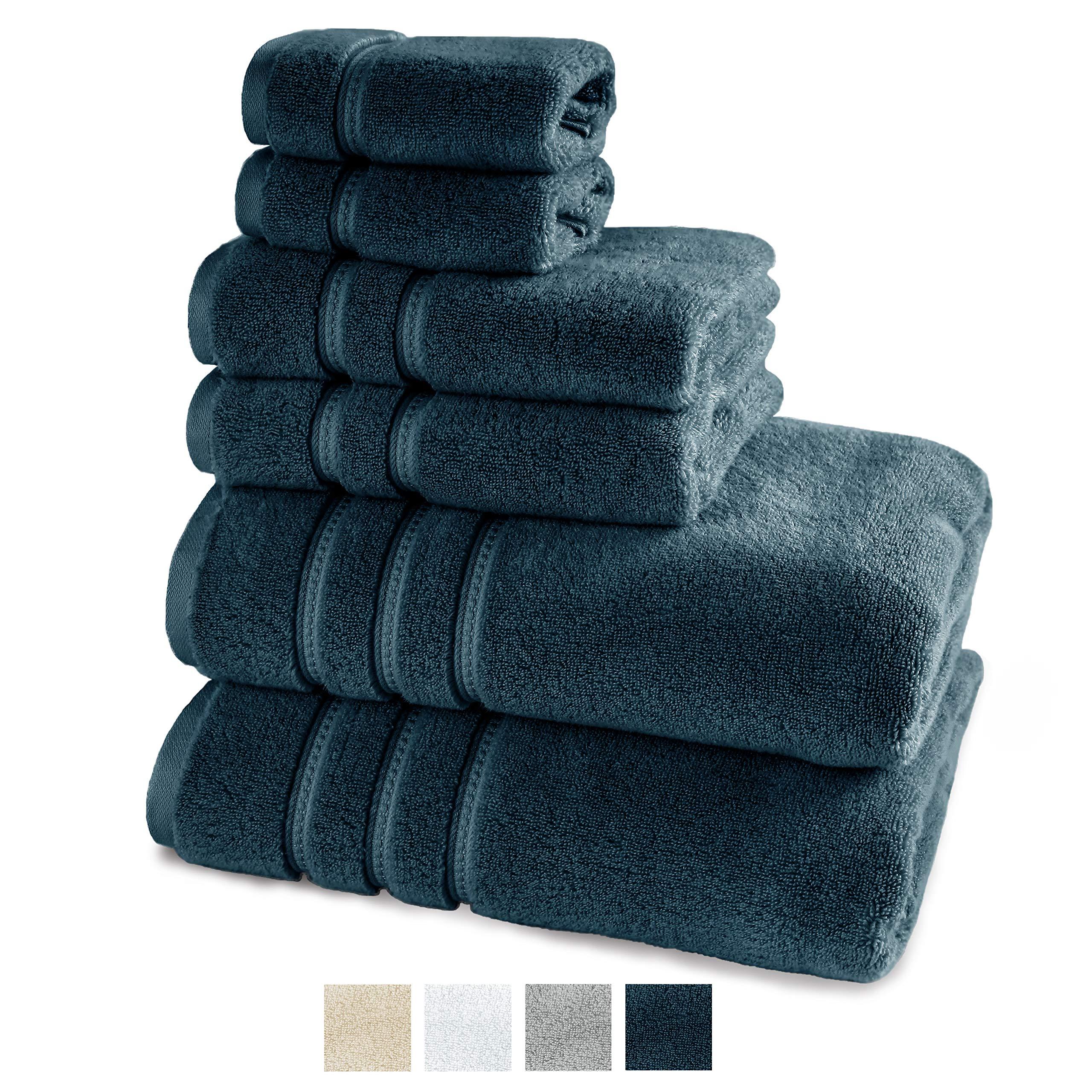 TRIDENT Large Bath Towels, 100% Cotton Zero Twist Towels 6 Piece Set -2 Bath, 2 Hand, 2 Washcloths, Softer Than a Cloud, Premium, Absorbent, Luxury Hotel Collection (Navy)