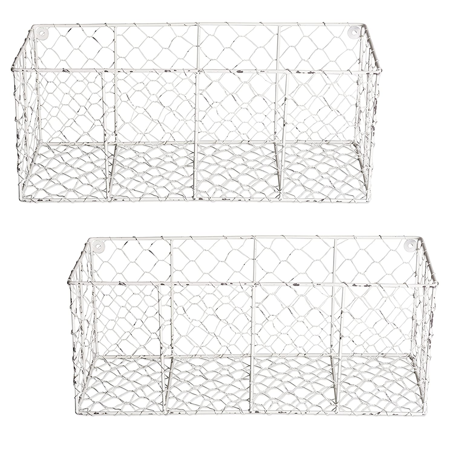 Home Traditions Rustic Farmhouse Vintage Chicken Wire Wall Basket, Set of 2 Medium, White