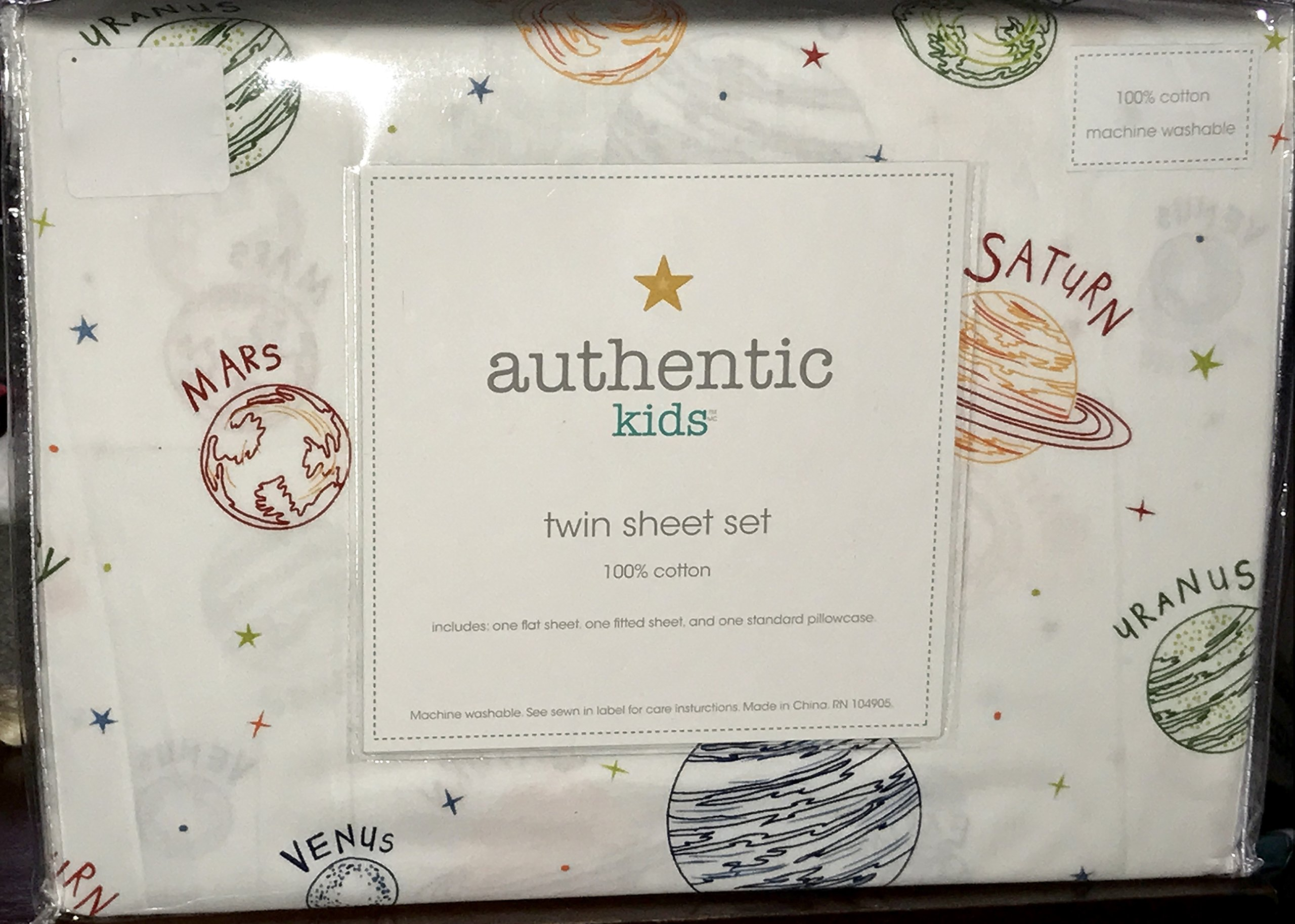 TWIN SIZE (ALL COTTON) 3-pc PLANETS / SOLAR SYSTEM Sheet Set (authentic kids)