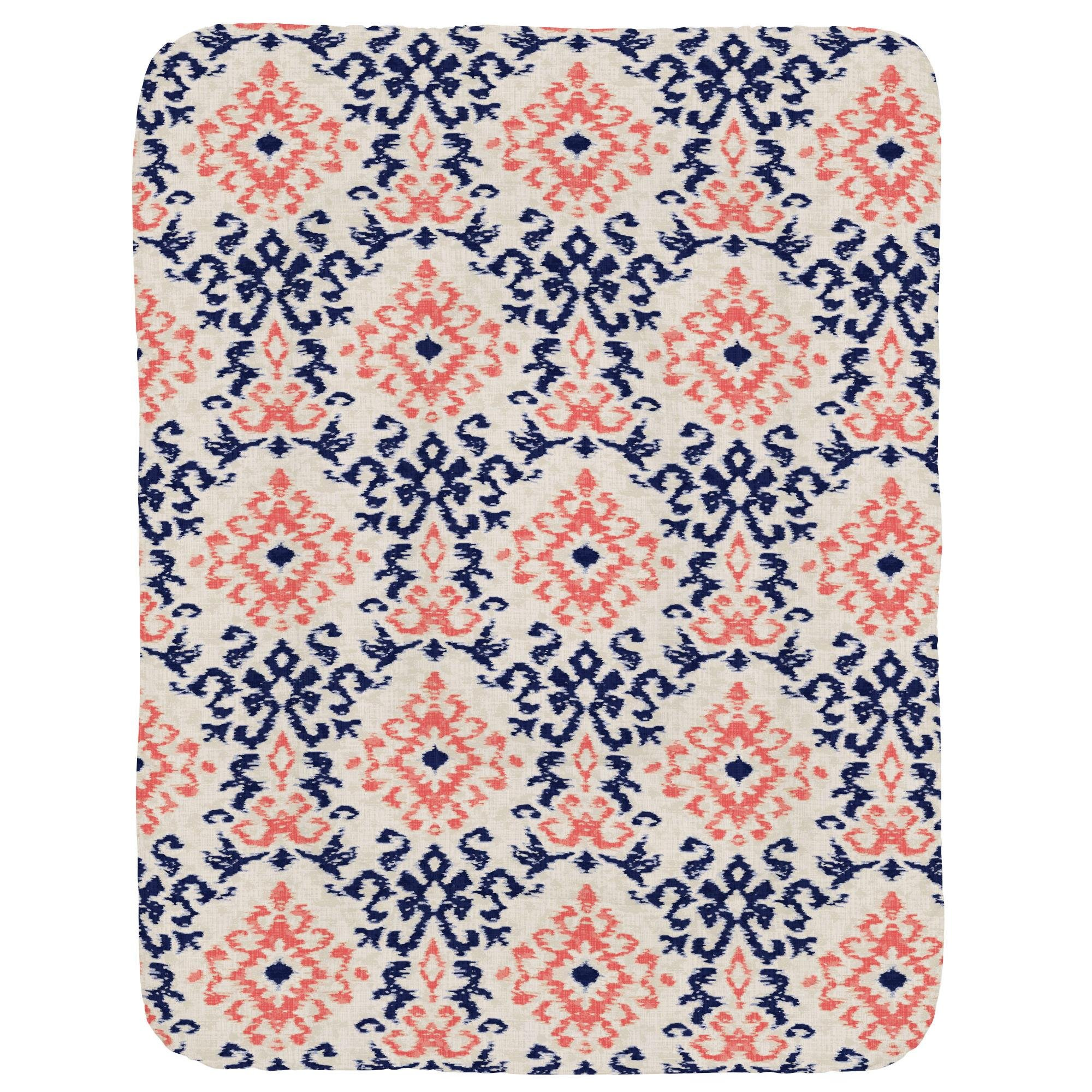 Carousel Designs Navy and Coral Ikat Damask Crib Comforter