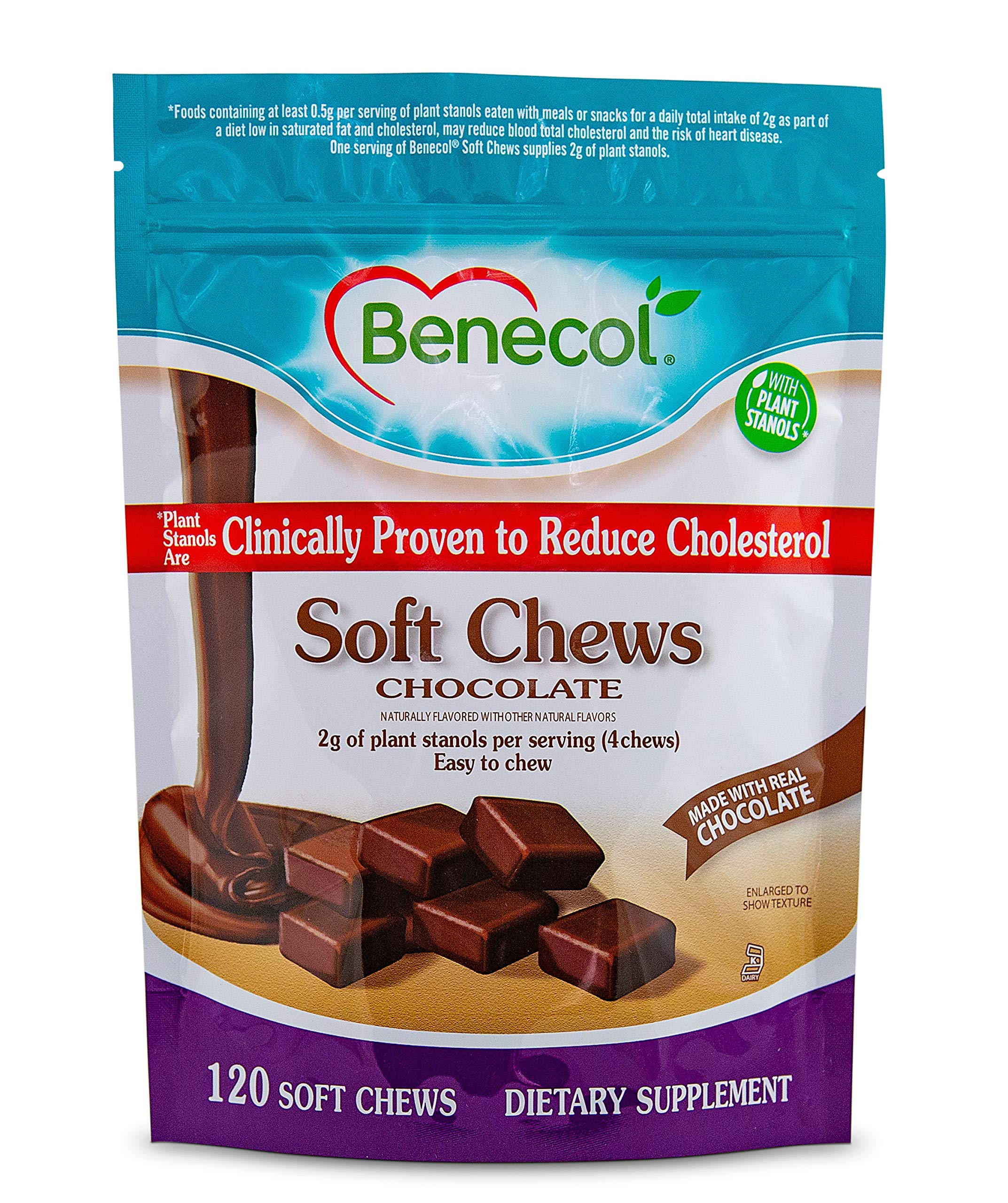 Benecol® Soft Chews - Dietary Supplement Made with Cholesterol-Lowering Plant Stanols, which are Clinically Proven to Reduce Total & LDL Cholesterol (120 Chocolate Chews)