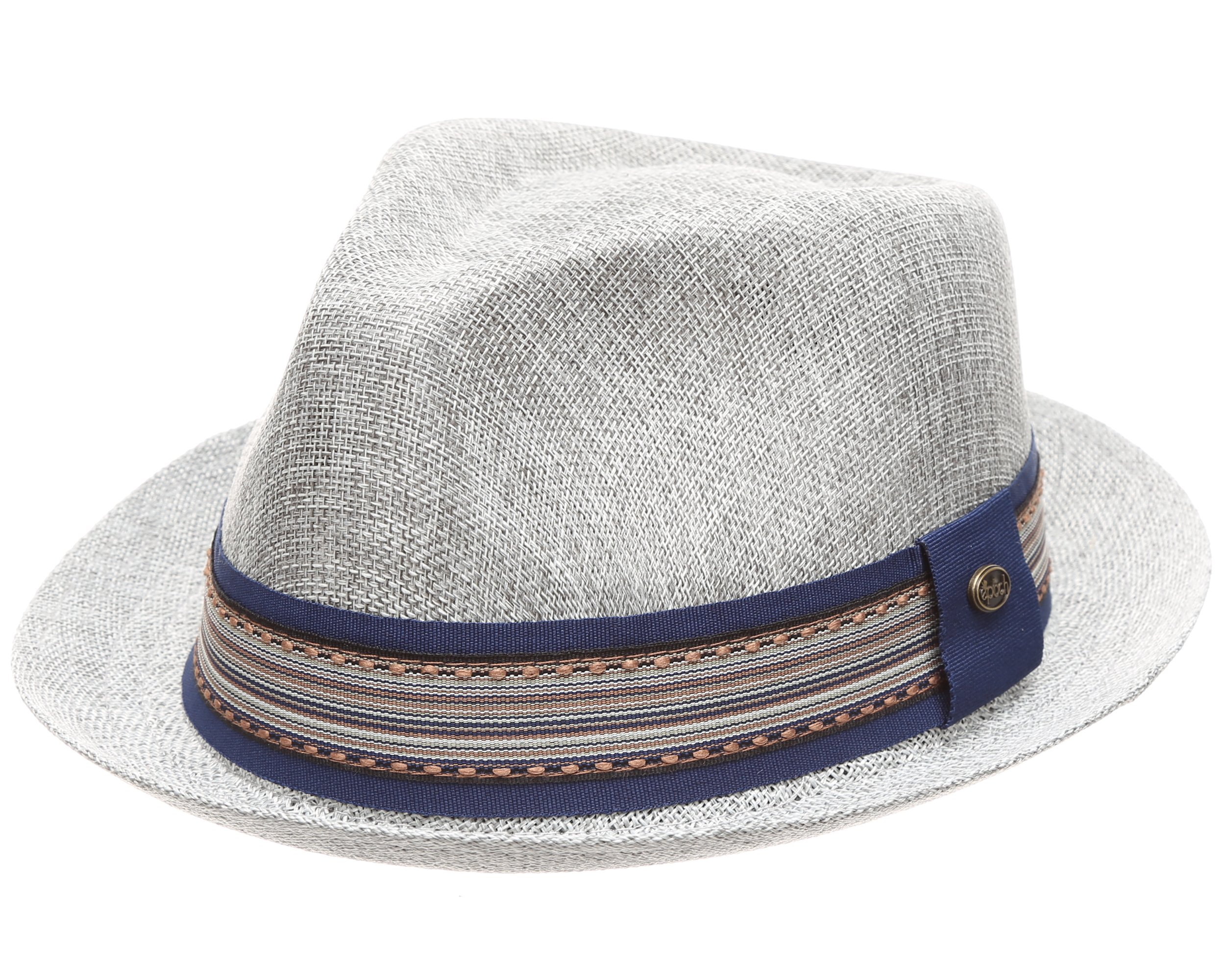 MIRMARU Men Women Summer Trilby Short Brim Lightweight Linen Fedora Hat with Band.(2805-Grey/LXL)