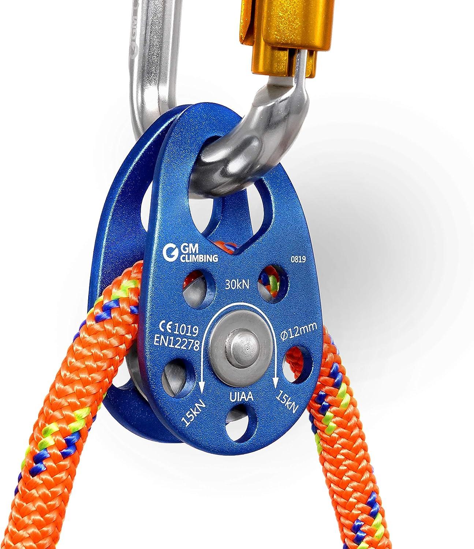GM CLIMBING UIAA Certifi/é 30kN Micro Poulie Flasque Mobile pour Usage G/én/éral