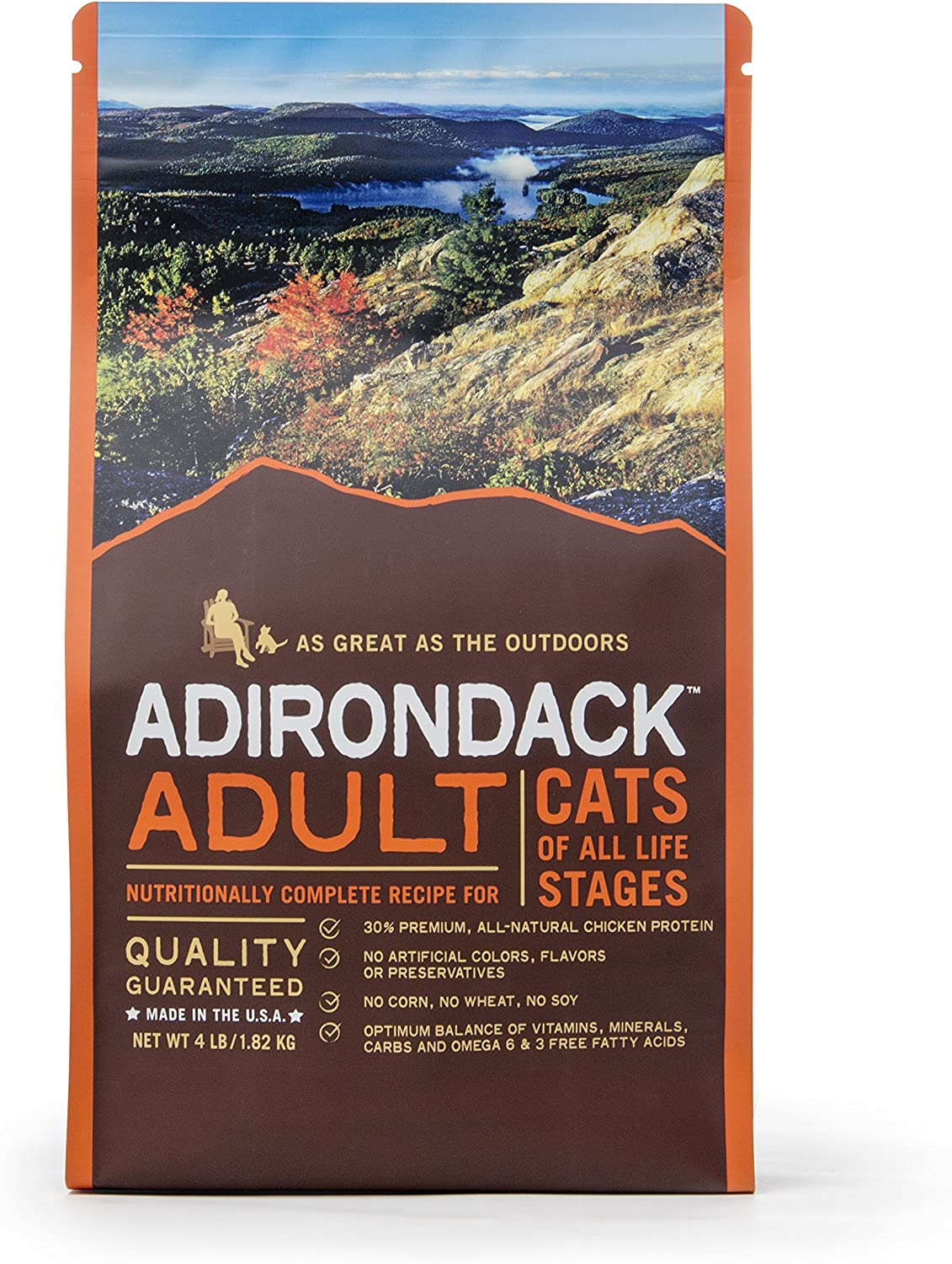 Adirondack Pet Food 22490 Adult Nutritionally Complete For Cats Of All Life Stages, 4Lb.