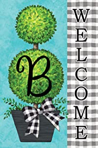 Custom Decor Gingham Topiary - Letter B - Embroidered Monogram - Decorative Double Sided Flag - Garden Size, 12 Inch X 18 Inch, Licensed, Copyright & Trademark CDI. USA
