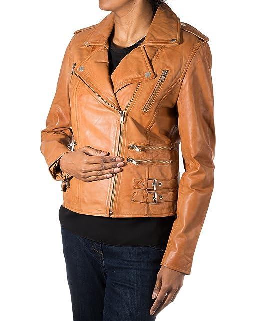 A to Z Leather Tan Mujer de Piel Polluelo de la Roca de la Cremallera Lateral Chaqueta de Motorista. Hebillas y Botones Stud: Amazon.es: Ropa y accesorios