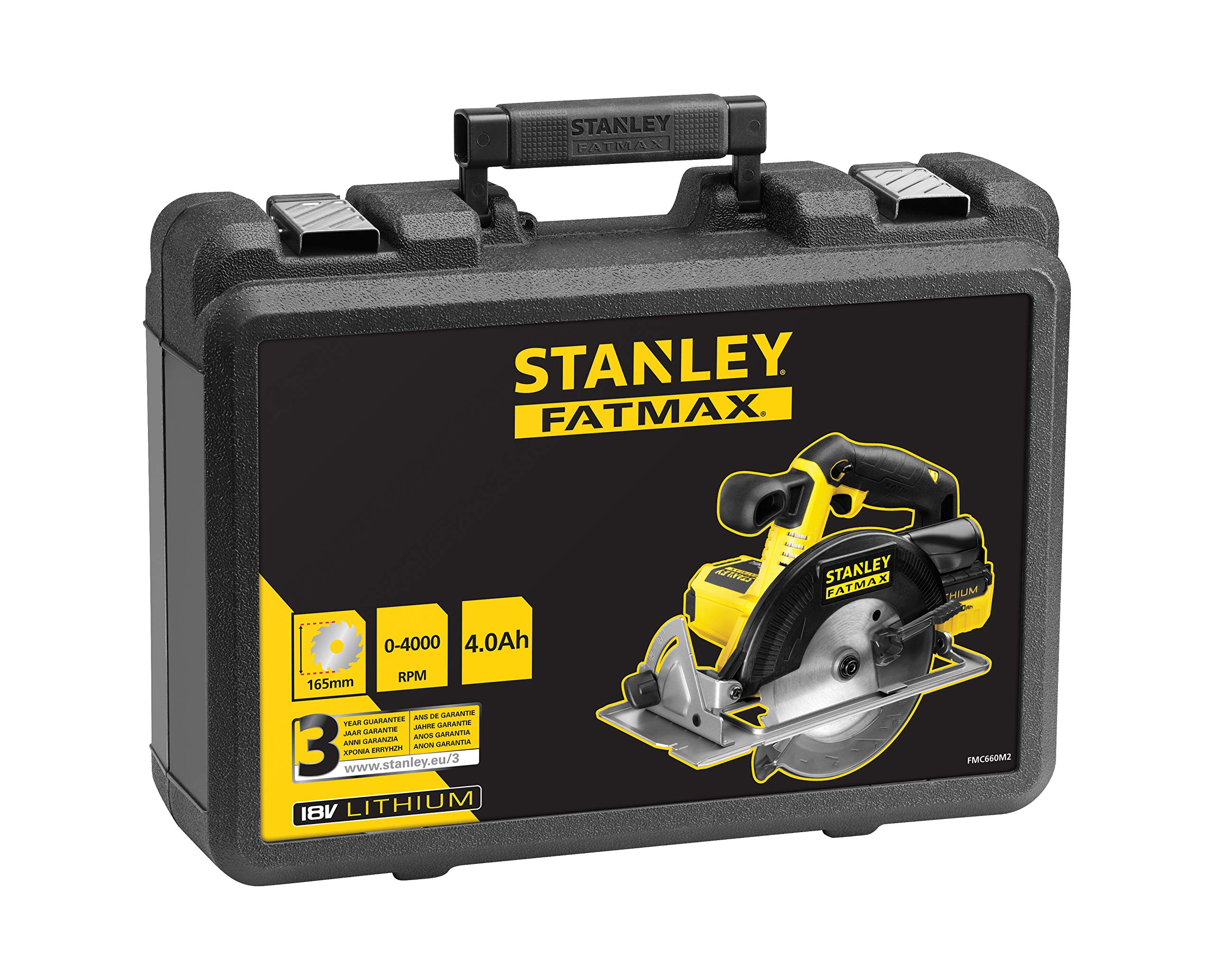 con 2 bater/ías de litio 4Ah y malet/ín Sierra de calar 18V corte bisel 45/° STANLET FATMAX FMC650M2-QW 19 mm