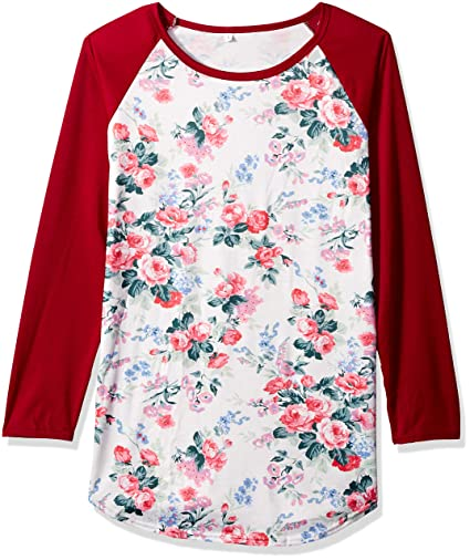 6c01592027b AIMTOPPY Fashion Women Long Sleeve Floral Striped Splicing O-Neck T-Shirt  Blouse (L, Red)