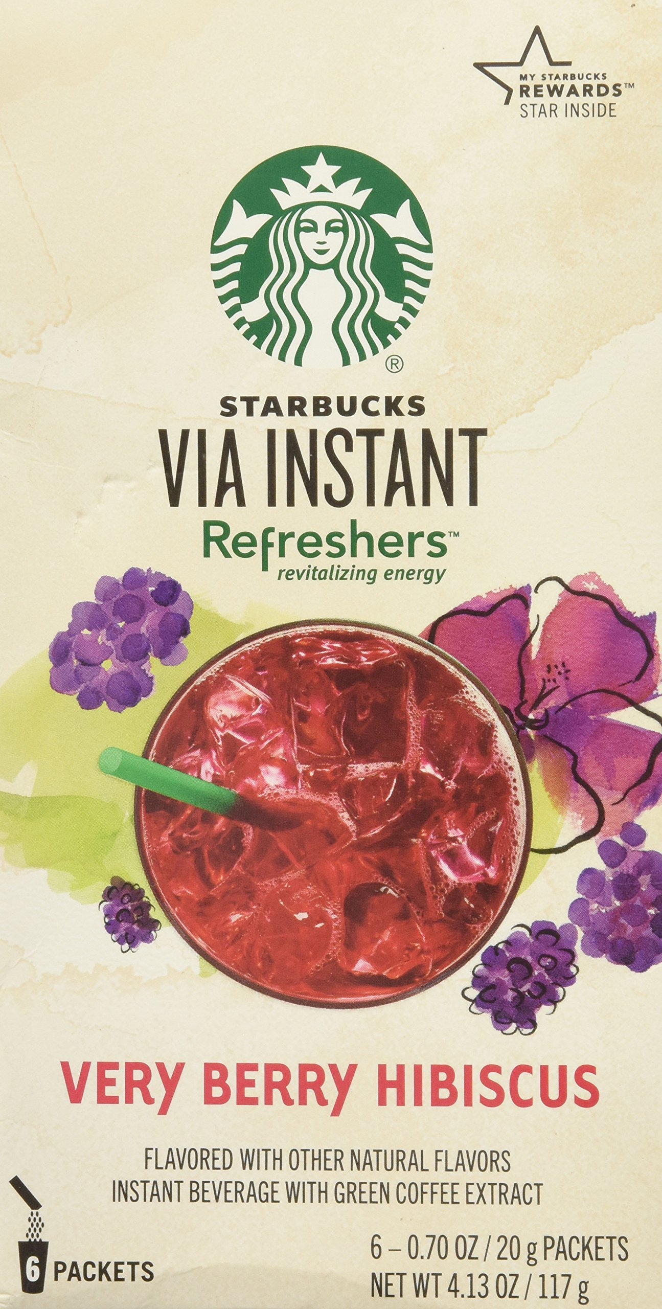 Starbucks VIA Instant Refreshers Very Berry Hibiscus (1 box of 6 packets)