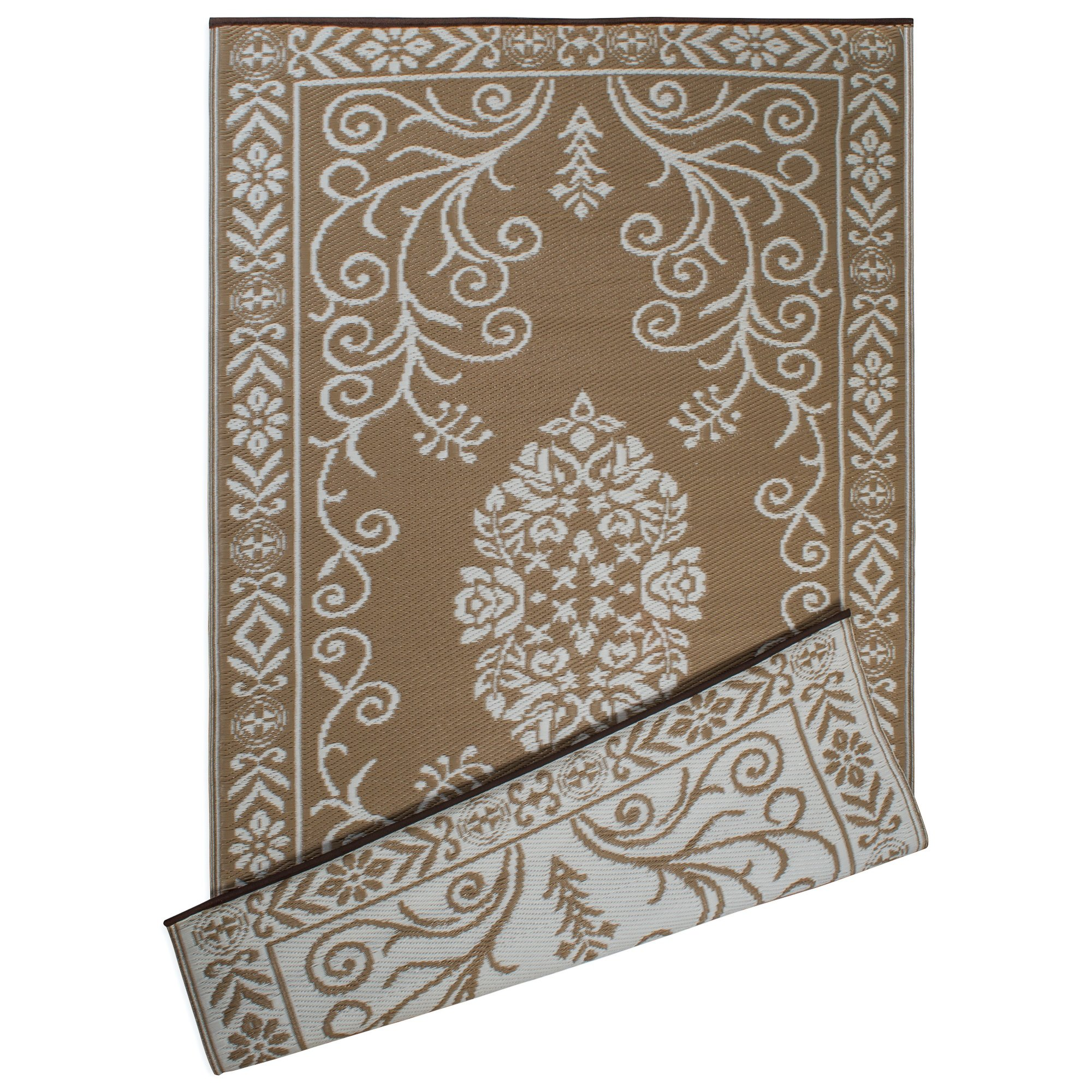 DII Contemporary Indoor/Outdoor Lightweight Reversible Fade Resistant Area Rug, Great For Patio, Deck, Backyard, Picnic, Beach, Camping, & BBQ, 4 x 6', Taupe Garden Floral