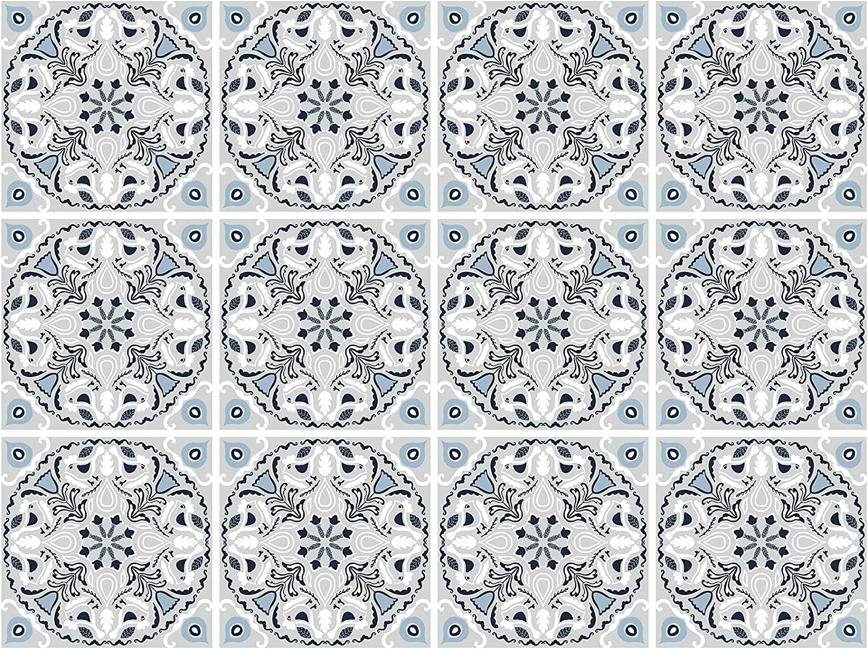 decalmile 12 Pcs Decorative Tile Stickers 15cmX15cm Grey Mediterranean Peel and Stick Self Adhesive Tile Backsplash Vinyl Waterproof Kitchen Bathroom Furniture Stairs Home Decor (6