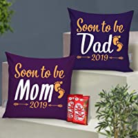 TIED RIBBONS Baby Shower Gifts for Soon to Be Mom and Dad ( Set of 2 Printed Cushion (12 inch x 12 inch) with Filler and Kitkat Chocolates )
