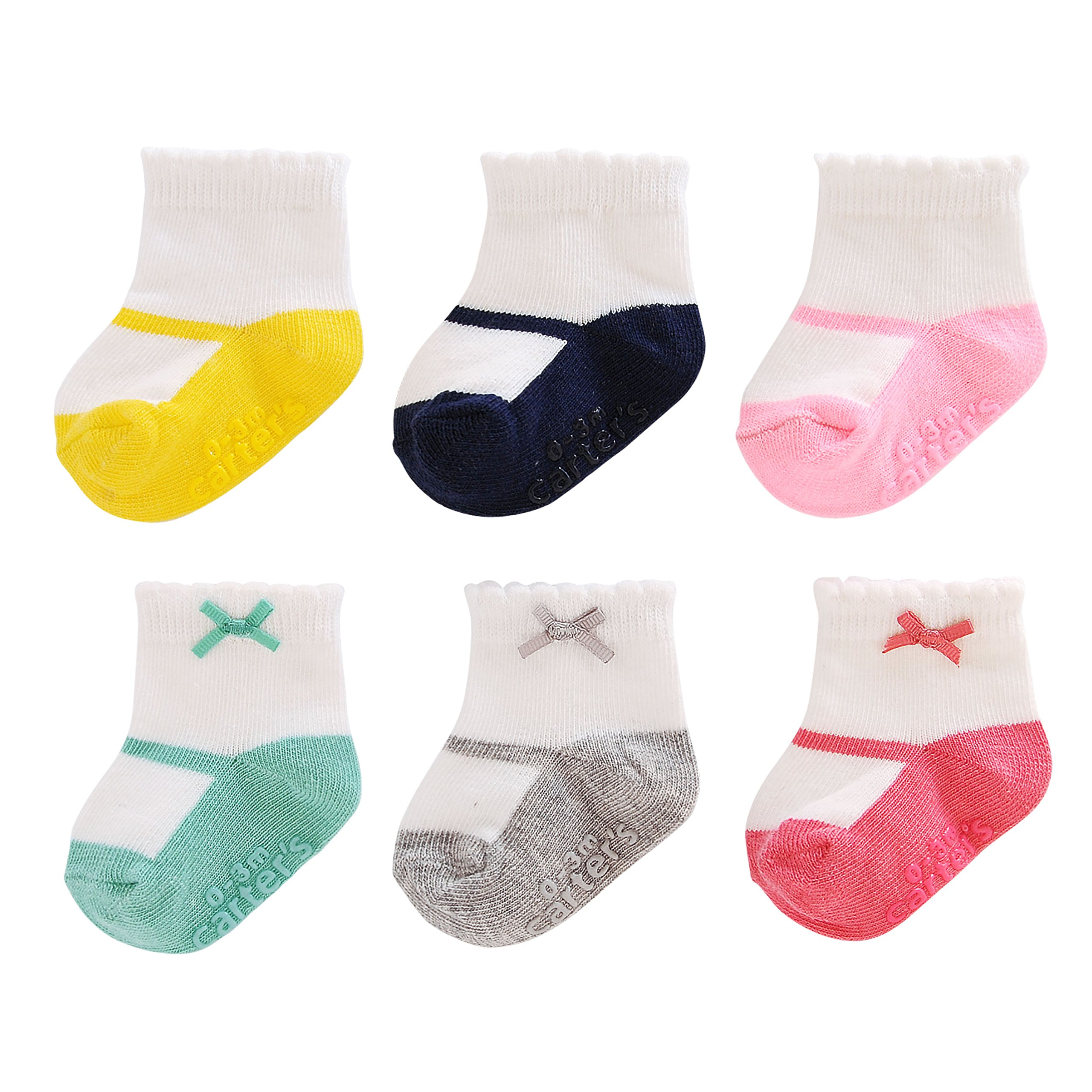 Carter's Girl 6-Pack Socks with Grippers, Crew- Mary Jane with Bow, 0-3 Months