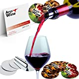 Wine Pourer Disc Set of 22 with 2 Designs – Best Drip Stop Pour Spouts – Thin Flexible and Reusable Drop Stop Disks