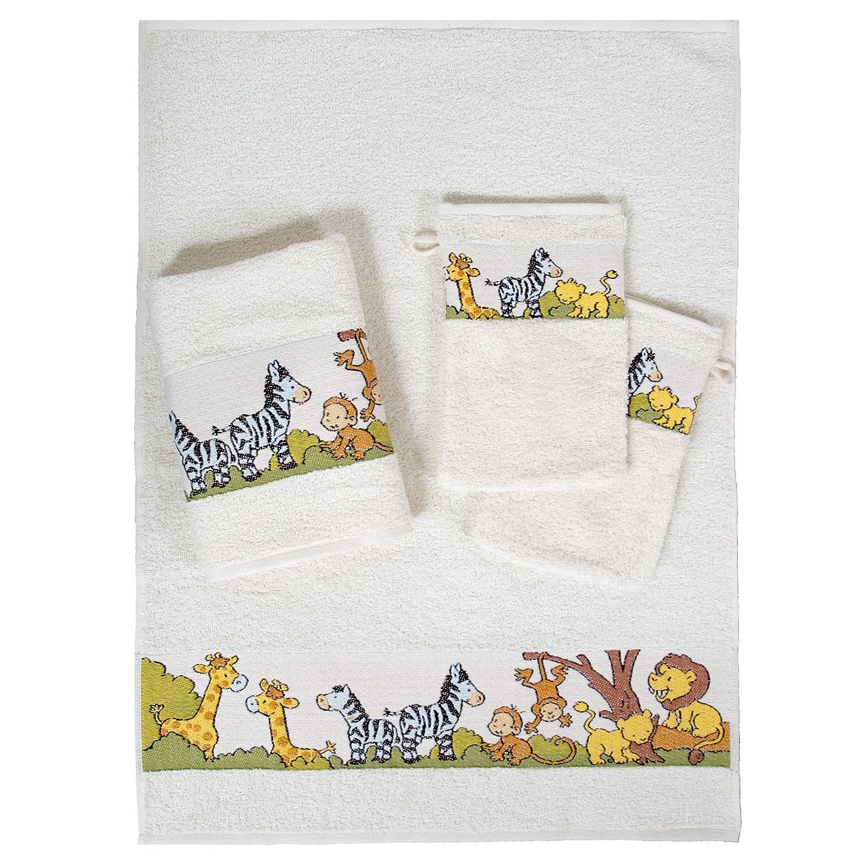 Dyckhoff 1451213200 - Conjunto de toallas infantiles (2 toallas de mano: 50 x 70 cm y 2 manoplas: 16 a 21 cm), diseño de zoo, color beige: Amazon.es: Hogar