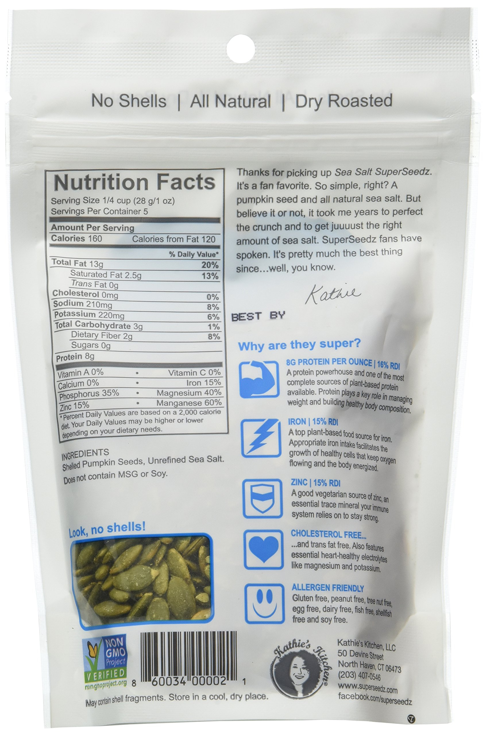 Pumpkin Seeds Roasted Sea Salt -Pack of 6(5oz) by SuperSeedz (Image #2)