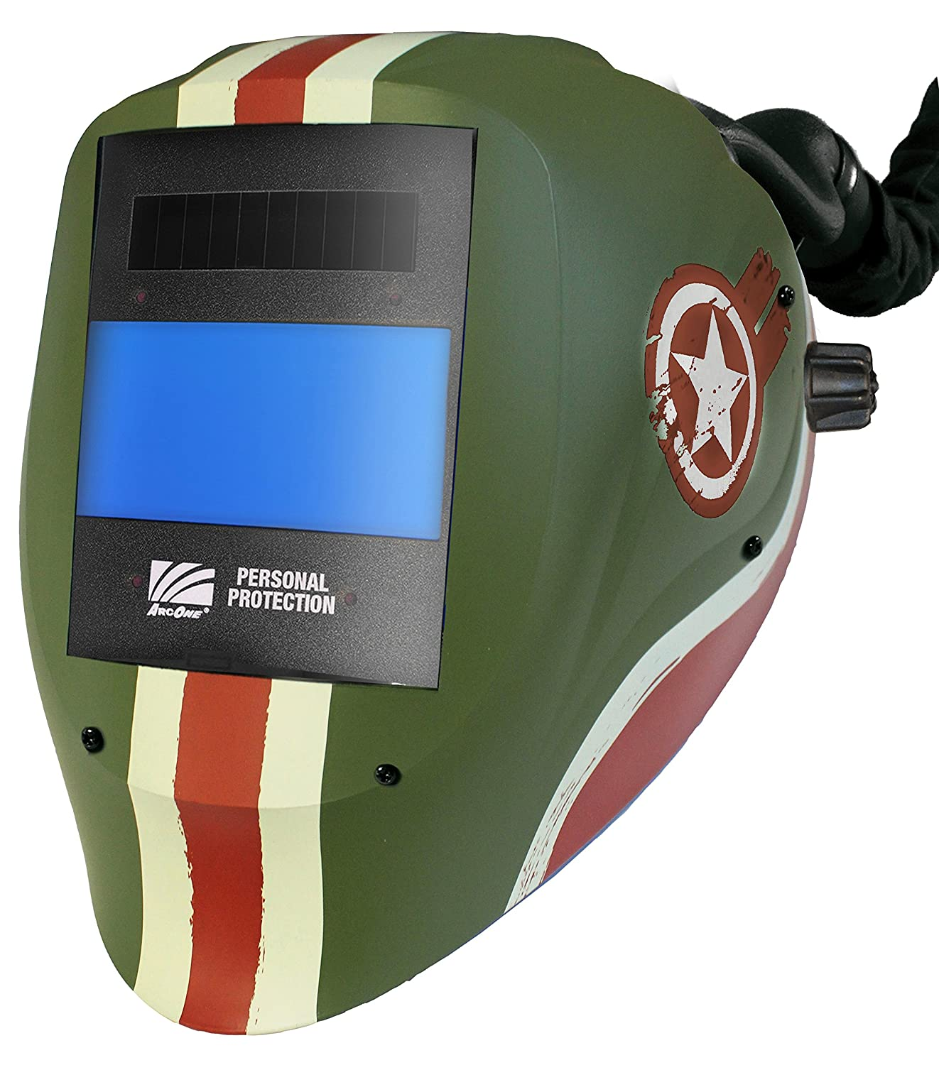 ArcOne AP-X54V-1500 Vision Welding Helmet Shell with 5 x 4 Digital ASIC Auto-Darkening Filter and AirPlus Respiratory System Black Builders World Wholesale Distribution AP-X54V-1500AON