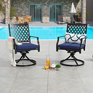 LOKATSE HOME Patio Swivel Dining Chairs Set of 2 with Cushion Bistro Outdoor Furniture for Garden Backyard Poolside, Blue