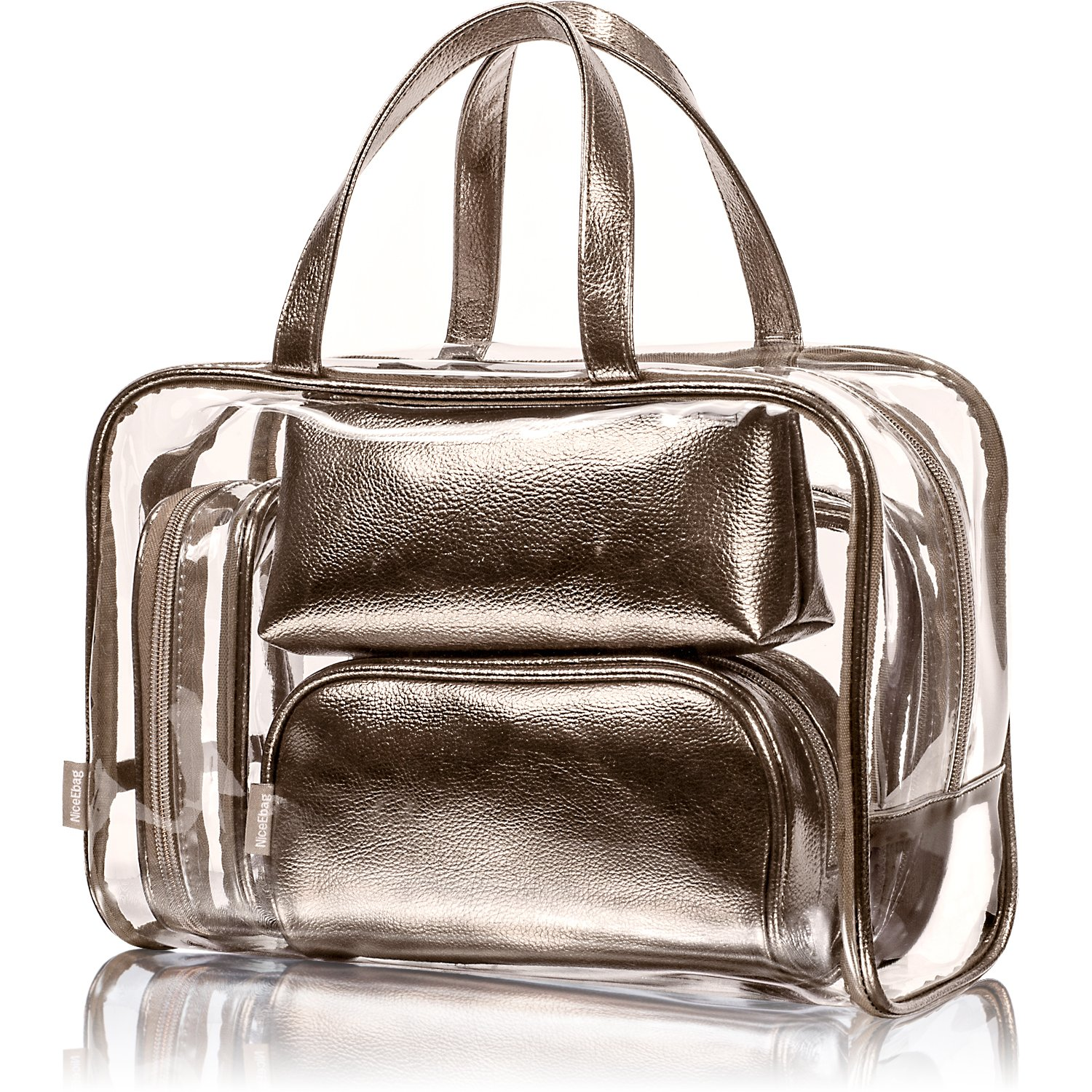 NiceEbag 5 in 1 Cosmetic Bag & Case Portable Carry on Travel Toiletry Bag Clear PVC Makeup Train Case Quart Luggage Pouch Transparent Handbag Beach Tote Bag Organizer for Men and Women (Bronze)