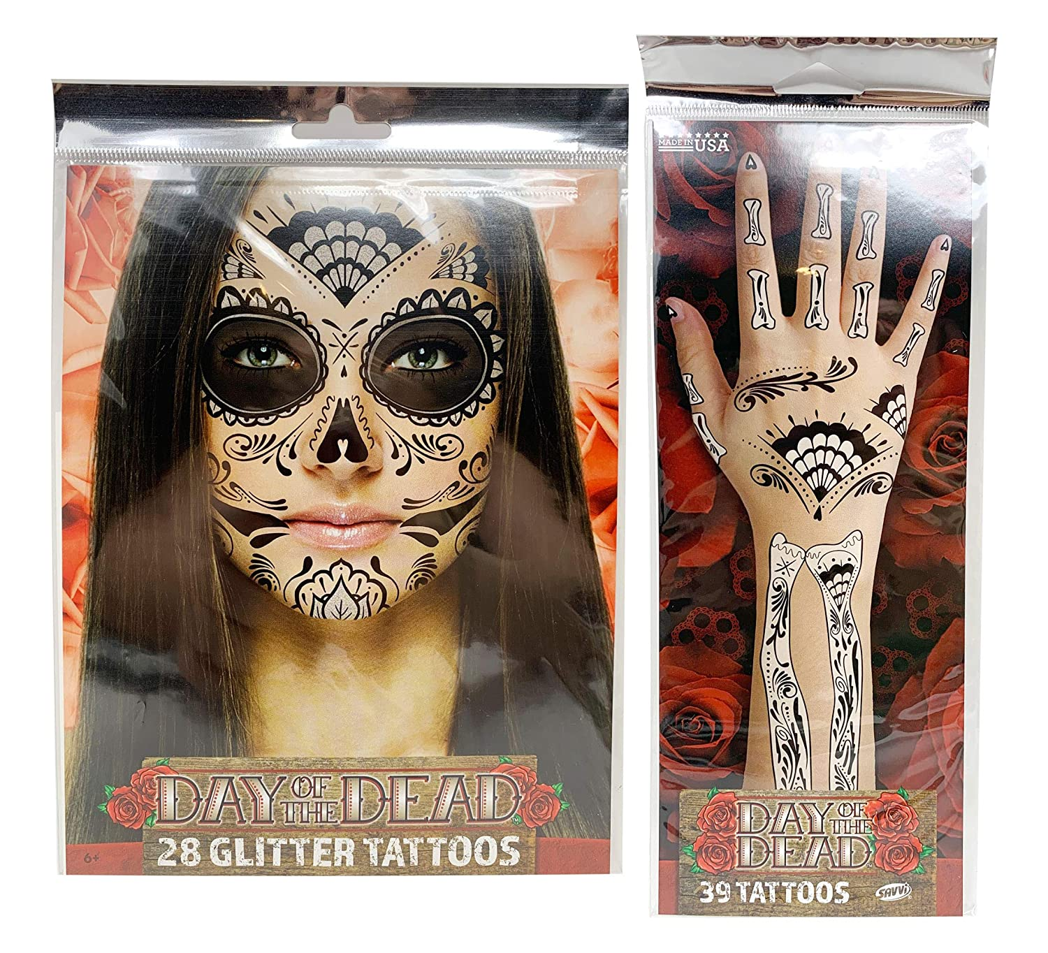 Day of The Dead Face Tattoos, Day of the Dead Costumes for Women, Day of the Dead Mask, Day of the Dead Decorations, Day of the Dead Costume, Temporary Face Tattoos (BlackWhite Glitter)