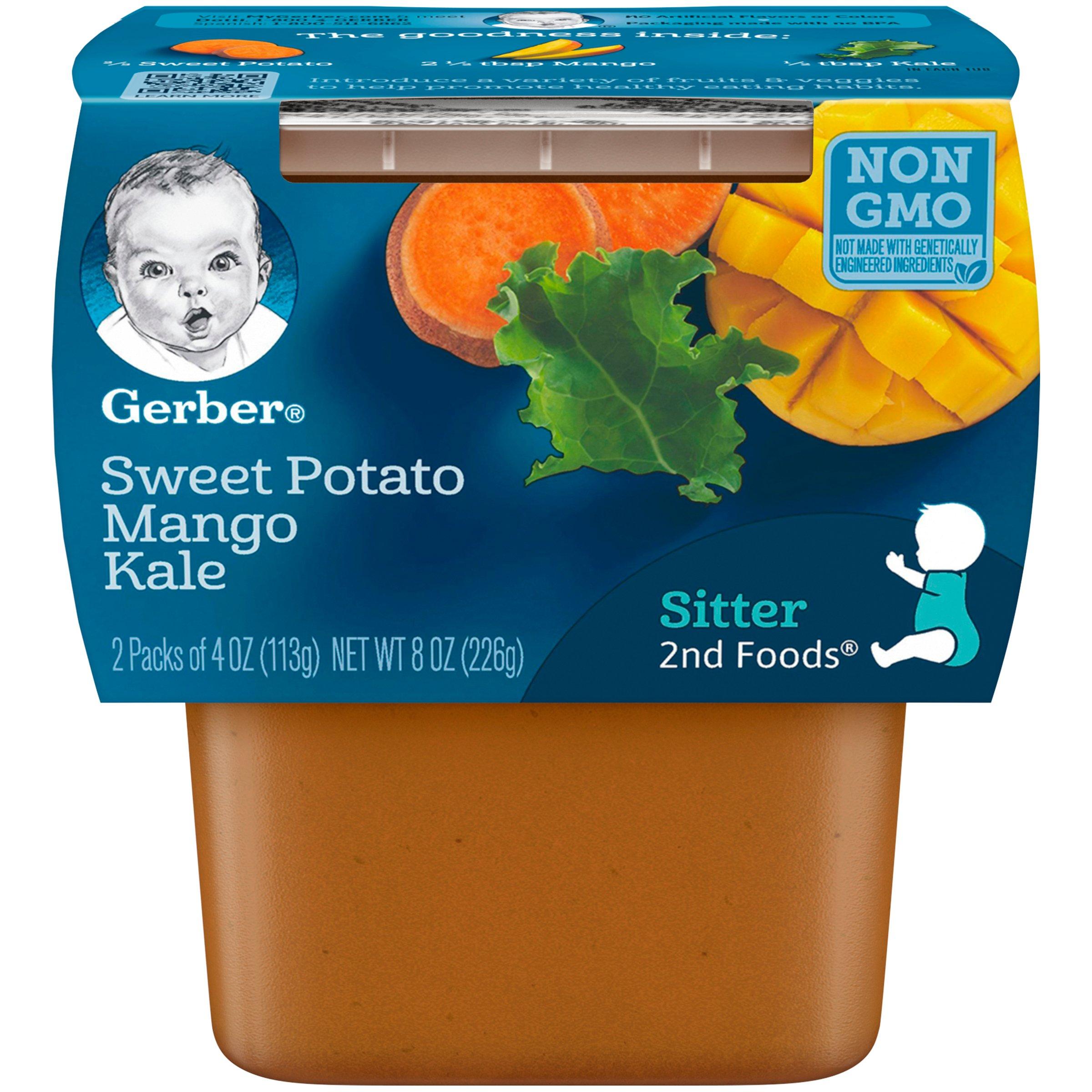 Gerber Purees 2nd Foods Sweet Potato Mango Kale Baby Food Tubs (Pack of 8) by Gerber