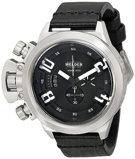 Welder K24 3200 - Reloj cronógrafo de caballero de cuarzo con correa de goma negra -