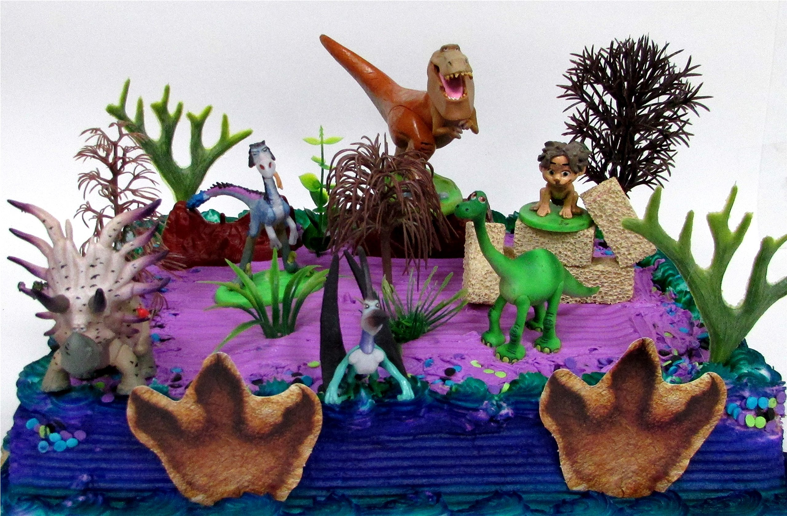 15 Piece GOOD DINOSAUR Themed Birthday Cake Topper Set Featuring ARLO and Friends Characters and Decorative Themed Accessories
