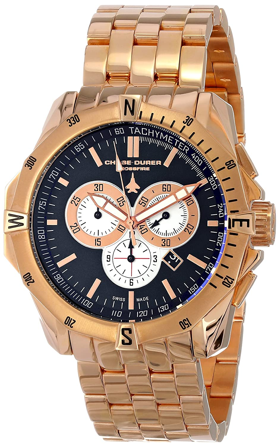 Amazon.com: Chase-Durer Men's 850.8BRG Crossfire 18K Rose Gold-Plated  Stainless Steel Chronograph Watch: Watches