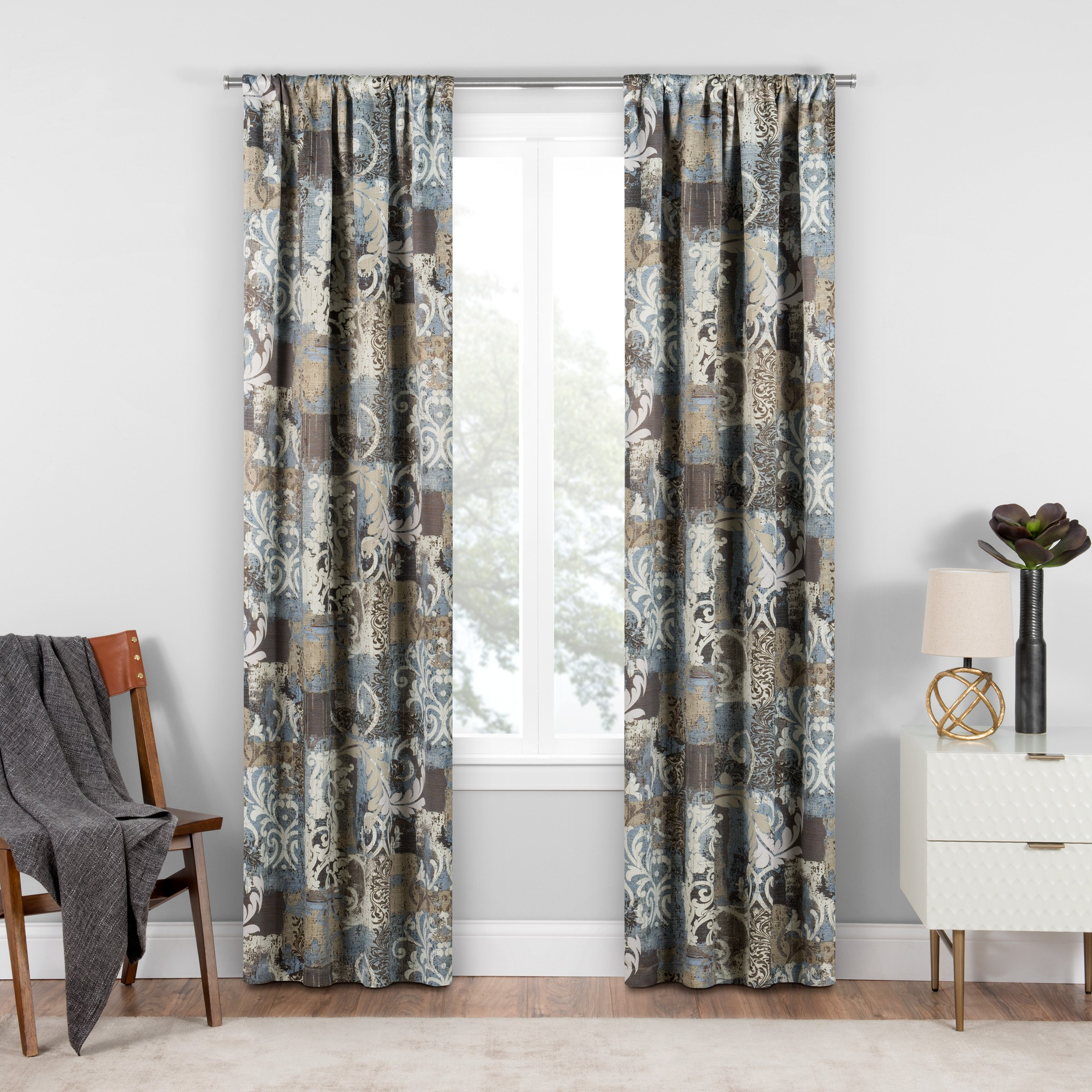 Eclipse Chiswick Room Darkening Single Window Curtain, 37x84, Spa