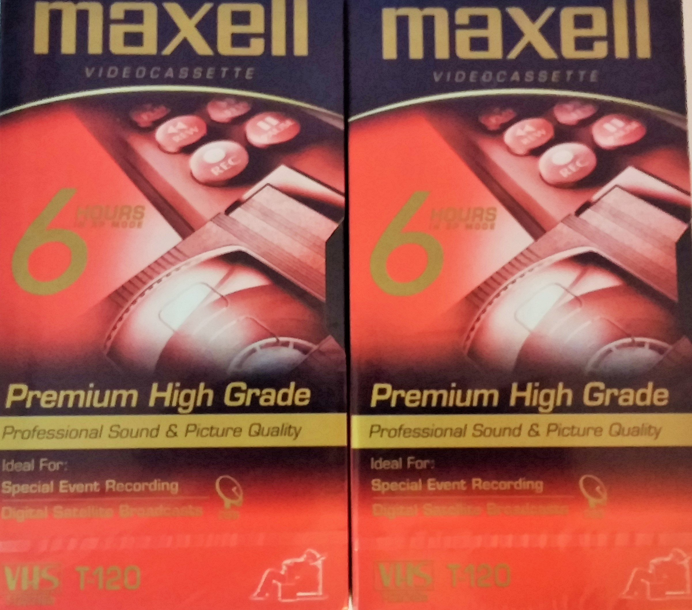Maxell Premium High Grade T-120 VHS Videocassette, 2 Pack by Maxelle