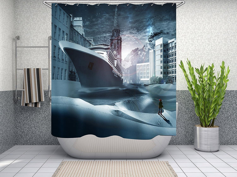 Tenda per doccia con design 3D dai colori vivaci a tema natalizio con Babbo Natale Color1 antimuffa, 71/×71 tenda per il bagno in poliestere Furnily 180 x 180 cm impermeabile