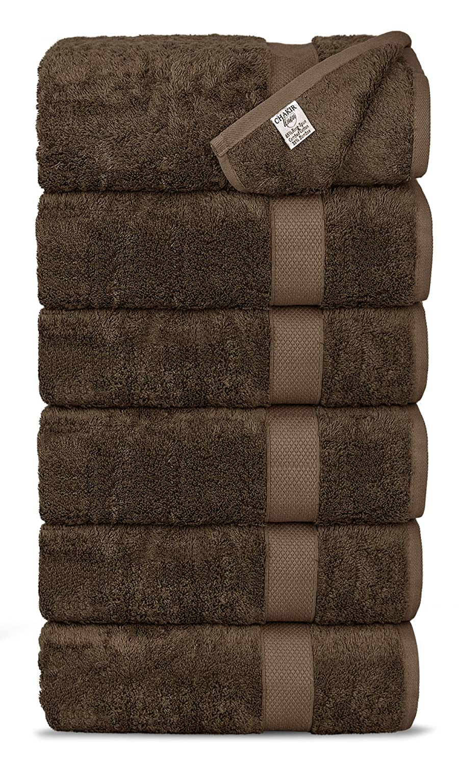 White Absorbent and Eco-Friendly Chakir Turkish Linens Luxury Ultra Soft Bamboo 6-Piece Towel Set Soft
