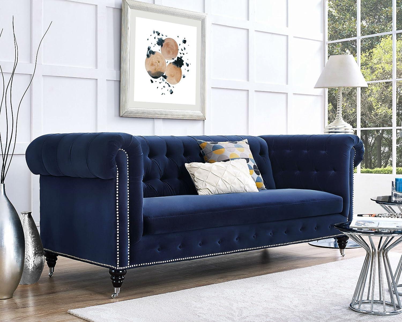 Amazon com tov furniture hanny navy blue velvet sofa kitchen dining
