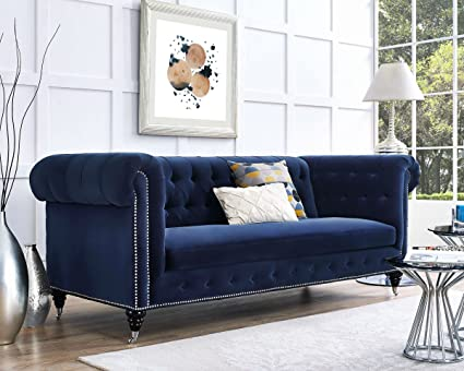 TOV Furniture Hanny Navy Blue Velvet Sofa