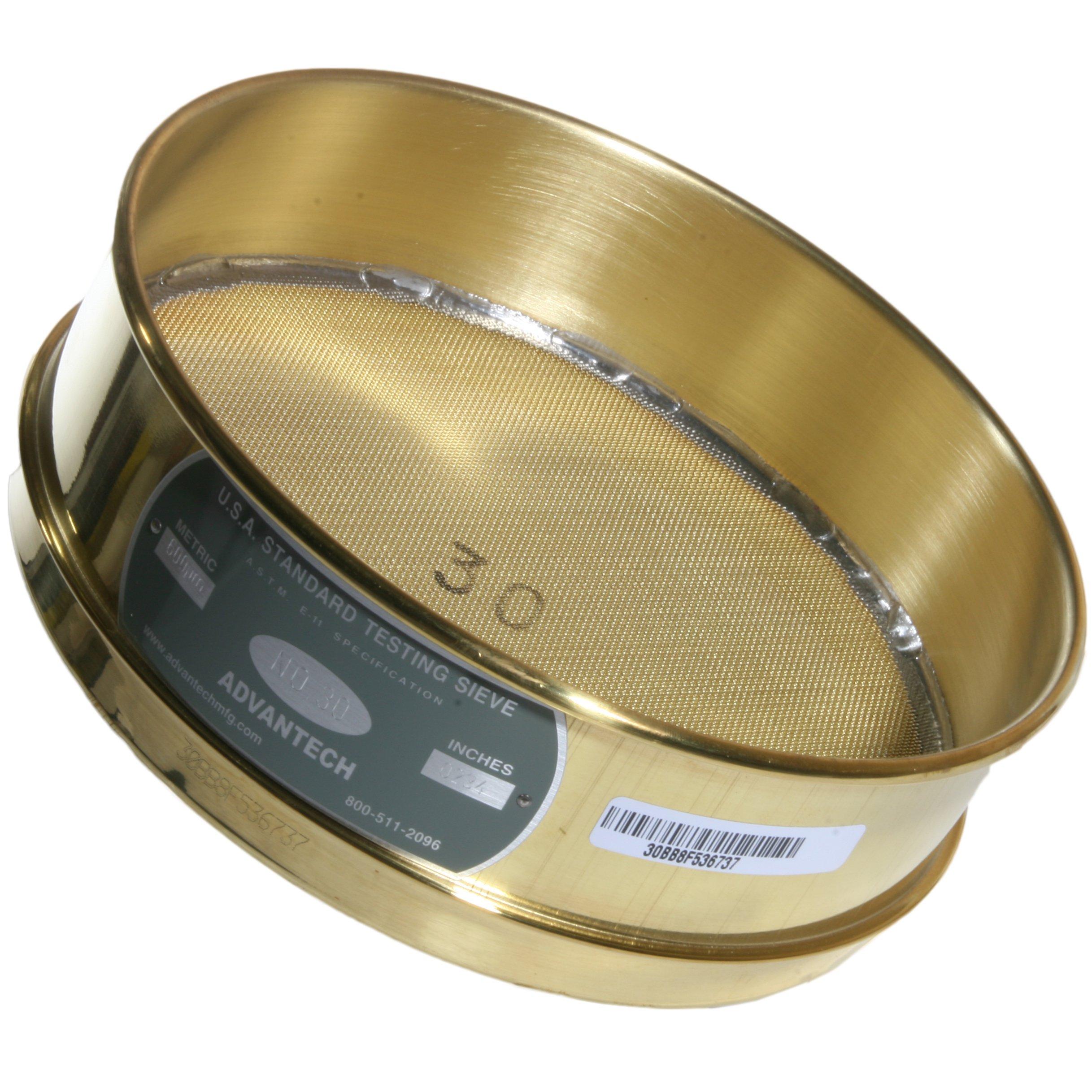 Advantech Brass Brush Sieves, 8'' Diameter, #30 Mesh, Full Height