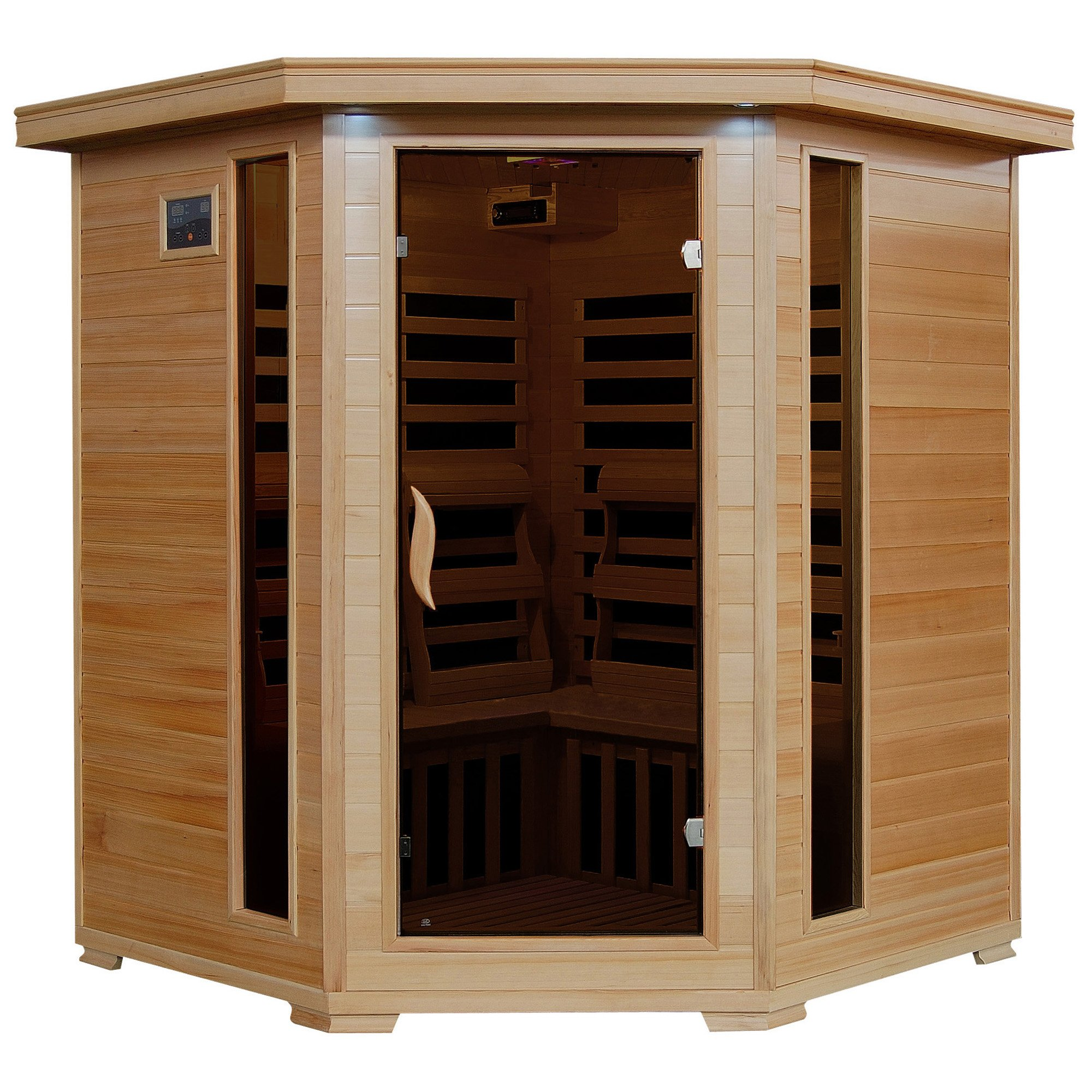 4-Person Hemlock Corner Infrared Sauna w/ 10 Carbon Heaters