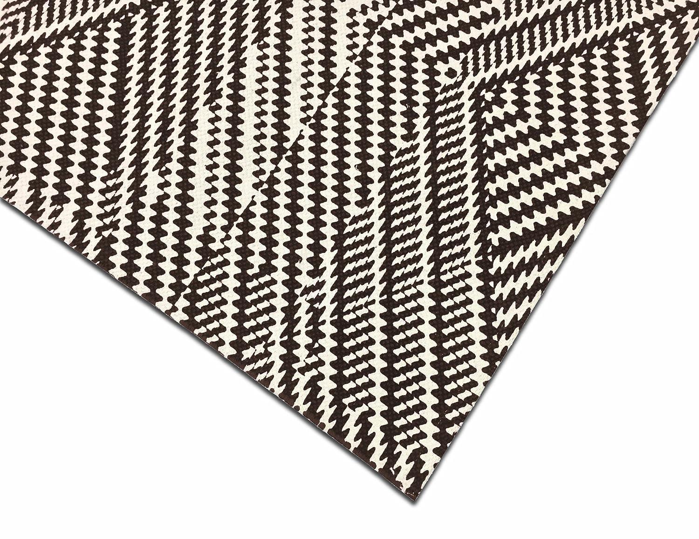 Kaleidoscope Design 100/% Cotton Flat Weave 27 x 45 Inches Black /& Cream TreeWool Decorative Mat Area Accent Rug