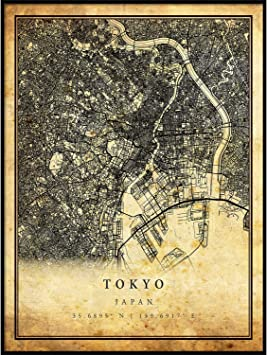 Tokyo map Vintage Style Poster Print | Old City Artwork Prints | Antique Style Home Decor | Japan Wall Art Gift | Historical maps 18x24
