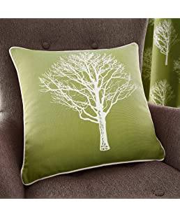 Fusion - Woodland Trees - 100% Cotton Filled Cushion - 43x43 cm in Green