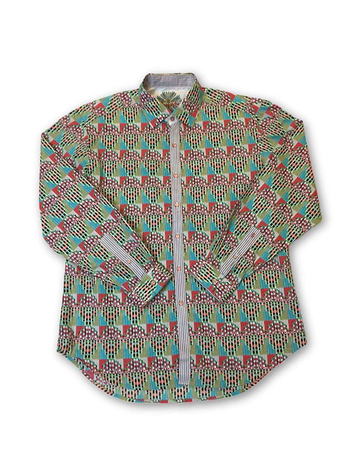 Robert Graham Staghorn Shirt in Multi Colour Abstract Pattern - L